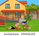 parents and children playing in ... | Shutterstock .eps vector #254526145