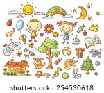 doodle set of objects from a... | Shutterstock .eps vector #254530618