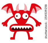vector cartoon funny red demon... | Shutterstock .eps vector #254539258