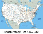 high detailed united states of... | Shutterstock .eps vector #254562232