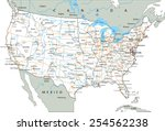 high detailed united states of... | Shutterstock .eps vector #254562238