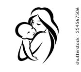 mother and baby stylized vector ... | Shutterstock .eps vector #254567506