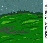 night landscape hilly terrain | Shutterstock .eps vector #254581846