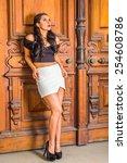 dressing in black  short sleeve ... | Shutterstock . vector #254608786