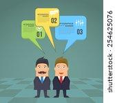 flat business people speech... | Shutterstock .eps vector #254625076