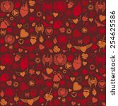 heart seamless pattern ... | Shutterstock .eps vector #254625586