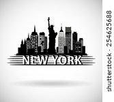 new york city skyline   Shutterstock .eps vector #254625688
