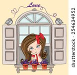 beautiful romantic girl vector... | Shutterstock .eps vector #254634952