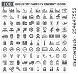 100 icon vector  industry... | Shutterstock .eps vector #254647552