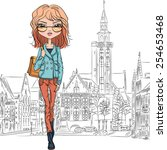 beautiful fashion girl student... | Shutterstock .eps vector #254653468