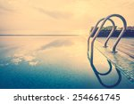 staircase pool in twilight... | Shutterstock . vector #254661745