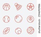 sport balls  thin line icons ... | Shutterstock .eps vector #254690986