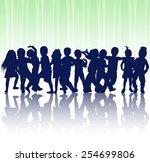 happy children dancing together | Shutterstock .eps vector #254699806