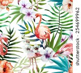 flamingos  pattern  watercolor  ... | Shutterstock . vector #254699962