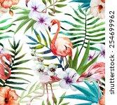 flamingos  pattern  watercolor  ... | Shutterstock . vector #254699962