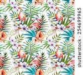 flamingos  pattern  watercolor  ... | Shutterstock . vector #254699965