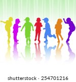 happy children dancing together | Shutterstock .eps vector #254701216