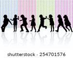 happy children dancing together | Shutterstock .eps vector #254701576