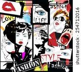 Fashion girl in sketch-style. Vector illustration. | Shutterstock vector #254712016