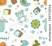 colorful baby boy seamless... | Shutterstock .eps vector #254715016