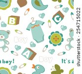 colorful baby boy seamless... | Shutterstock .eps vector #254715022