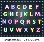 alphabet with lightbox glowing... | Shutterstock .eps vector #254720596