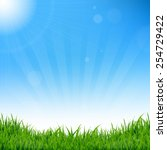 blue sky and grass background... | Shutterstock .eps vector #254729422