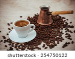 coffee turk and cup of coffee... | Shutterstock . vector #254750122