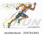 running man. vector artwork in... | Shutterstock .eps vector #254761342