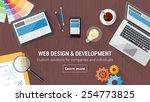 web developer desk with... | Shutterstock .eps vector #254773825