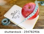 diet concept with red apple  a