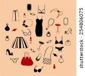 girl stuffs vector | Shutterstock .eps vector #254806075