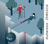 debt takes off man over a cliff.... | Shutterstock .eps vector #254813116