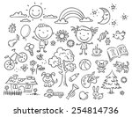 Doodle set of objects from a child's life, black and white outline | Shutterstock vector #254814736