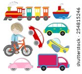vector set of cute kids... | Shutterstock .eps vector #254815246
