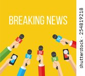 breaking news flat style vector ... | Shutterstock .eps vector #254819218