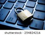 security lock on black computer ... | Shutterstock . vector #254824216