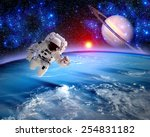 astronaut spaceman outer space... | Shutterstock . vector #254831182