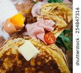 stuffed pancakes with ham... | Shutterstock . vector #254847316