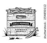 retro crate of chili peppers... | Shutterstock .eps vector #254850112