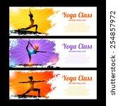 yoga class horizontal banner... | Shutterstock .eps vector #254857972