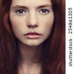 beautiful red haired girl close ... | Shutterstock . vector #254861305