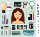 make up flat decorative icons... | Shutterstock .eps vector #254869258