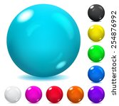 set of opaque glass spheres in... | Shutterstock .eps vector #254876992