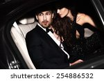 sexy couple in the car.... | Shutterstock . vector #254886532
