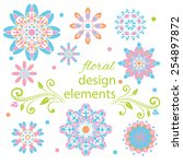 vector floral set. colorful... | Shutterstock .eps vector #254897872