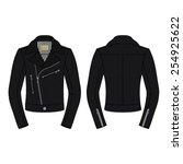 men biker jacket in black...   Shutterstock .eps vector #254925622