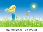 The girl and butterfly. Grass and flowers. - stock vector