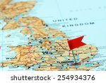 london pinned on a map of europe | Shutterstock . vector #254934376