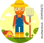 Farmer With Pitchfork On Farm...